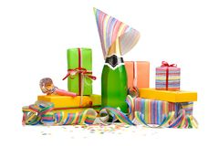 Birthday still life. Champagne with gift boxes, streamers and confetti. Isolated on white Stock Images
