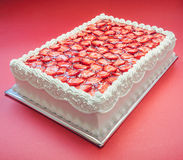 Birthday Strawberry Cake Stock Photo