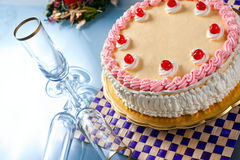 Birthday Strawberry and Cream Cake Royalty Free Stock Photography