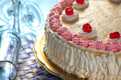 Birthday Strawberry and Cream Cake Stock Photos