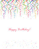 Birthday streamers and confetti Royalty Free Stock Images