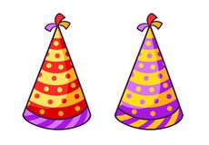 Birthday striped colorful caps. royalty free illustration