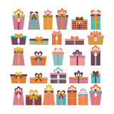 Birthday surprise. Set of different gift boxes. Colorful wrapped Royalty Free Stock Image