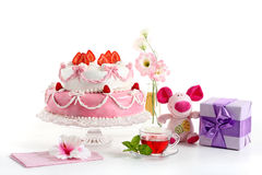 Birthday sweets for friends!. Sweets from a confectioner's shop on a birthday party stock photos