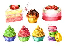 Birthday sweets set. Watercolor hand drawn illustration, isolated on white background.