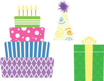Birthday symbols. Of a cake, present and hat Royalty Free Illustration