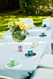 Birthday table in a park ready for kids Royalty Free Stock Images