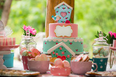 Birthday table with sweets for children party Royalty Free Stock Photo