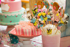 Birthday table with sweets for children party Stock Images
