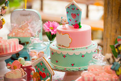 Birthday table with sweets for children party Stock Photography