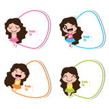 Birthday tag with cute girls on colorful frames  cartoon Royalty Free Stock Photography