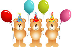Birthday teddy bears with balloons Stock Images