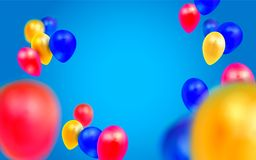 Birthday template with balloons on blue background. Birthday template with balloons on blue background Royalty Free Stock Photo