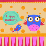 Birthday Template greeting card. Template Birthday greeting card with colorful owl and bird Stock Photo