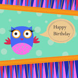 Birthday Template greeting card. Template Birthday greeting card with colorful owl on spotted background Stock Photos