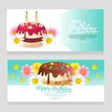 Birthday theme banner with turquoise color and colorful tart. Cute birthday theme banner with turquoise color and colorful tart Stock Photography