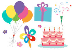 Birthday theme with cake and balloons Stock Image