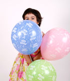 Birthday toddler with Balloons Stock Images