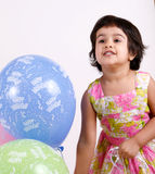 Birthday toddler with Balloons Royalty Free Stock Photography