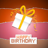 Birthday Torn Paper Retro Background with Gift Box Royalty Free Stock Images