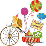 Birthday Tortoise. Vector illustration of a cute tortoise on a motorize tricycle with balloons, cupcake and a happy birthday sign. Eps10 stock illustration