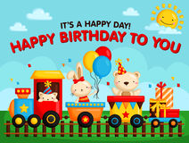 Birthday train card Royalty Free Stock Images