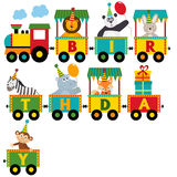 Birthday train with characters Stock Photos