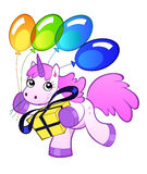 Birthday unicorn. Running pink unicorn with a several rainbow color balloons and gift Royalty Free Stock Images