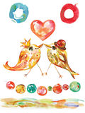 Birthday and Valentine Card with birds and heart, watercolor cheerful decorative garland Stock Photography