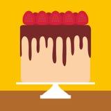Birthday, valentine`s day, wedding, engagement. Sweet cake, strawberry cream chocolate icing, Cake Stand, pastel colors on yellow Stock Image