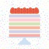Birthday, valentine`s day, wedding, engagement. Sweet cake, strawberry cream, Cake Stand, pastel colors on white polka dot backgr Royalty Free Stock Photos