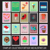 Birthday and Valentine's stamps collection. 20 stamps Royalty Free Stock Photography