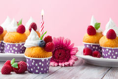 Birthday vanilla cupcakes with fresh raspberries. Delicious birthday vanilla cupcakes with fresh raspberries, cream and lighted candle on a pink background Stock Photography