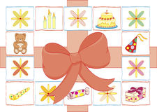 Birthday varieties. Big ribbon framed with varieties of birthday elements stock illustration