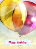 Birthday vector greeting card with balloons Stock Photo
