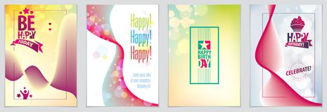 Birthday vector greeting cards set. Includes lettering composition and balloons combined with wavy fluid colorful shape abstract. Backgrounds collection. A4 royalty free illustration