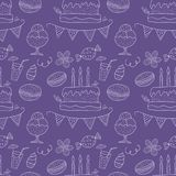 Birthday vector seamless pattern. Cute greeting illustration. Birthday vector seamless pattern with party sweets. Outline greeting illustration with cakes Stock Images