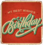 BIRTHDAY vintage hand lettered card (vector) Royalty Free Stock Photography