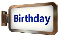 Birthday on billboard background. Birthday wall light box billboard background , isolated on white Royalty Free Stock Images