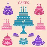 Birthday and wedding cakes vector illustration