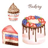 Birthday and wedding watercolor cake on white background. Piece of layered cake and cupcake. Sweet hand drawn desert