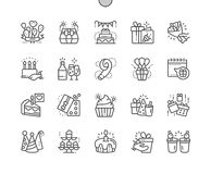 Birthday Well-crafted Pixel Perfect Vector Thin Line Icons 30 2x Grid for Web Graphics and Apps. Simple Minimal Pictogram Stock Photos