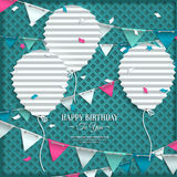 Birthday wish with bunting flags and balloons in Stock Photos