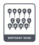 Birthday wish icon in trendy design style. birthday wish icon isolated on white background. birthday wish vector icon simple and. Modern flat symbol for web stock illustration