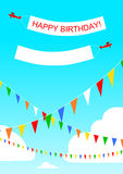 Birthday party airplanes and banners Royalty Free Stock Photos