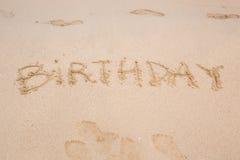 Happy Birthday Written On The Sand Beach Royalty Free
