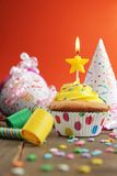 Birthday yellow cupcake Royalty Free Stock Images