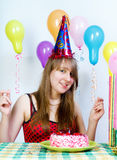 Birthday. Young fun happy girl Royalty Free Stock Photo