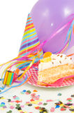 Birthdaycake with balloon and streamers. On white stock photography