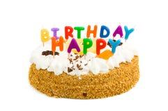 Birthdaycake mit alles Gute zum Geburtstagkerzen Stockfoto